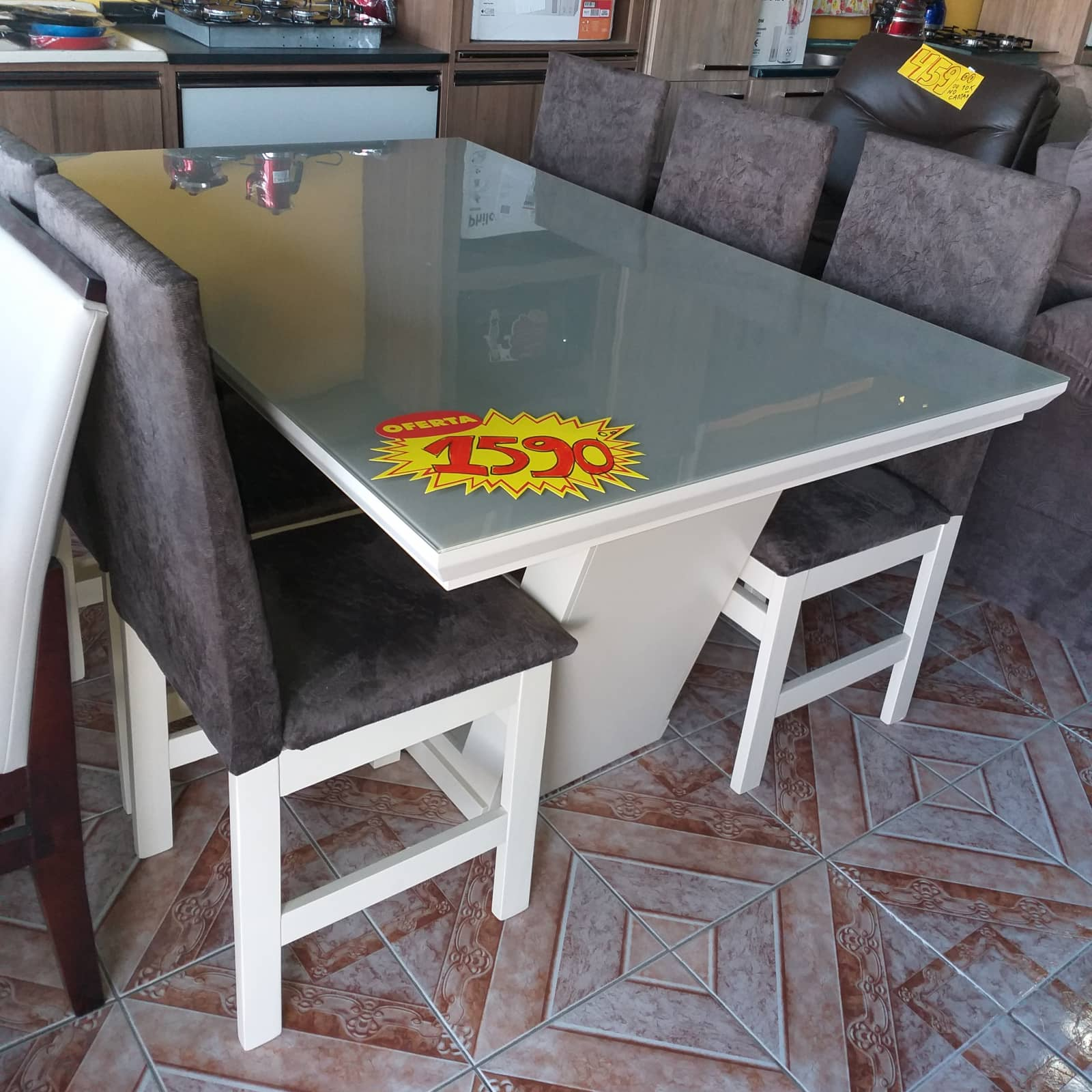 Mesa 6 cadeiras vidro serigrafado